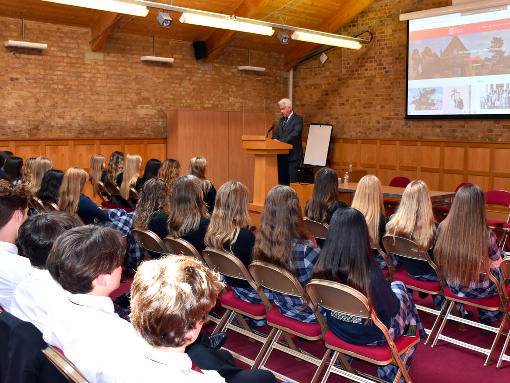 Students listening to presentation from Chris Forster