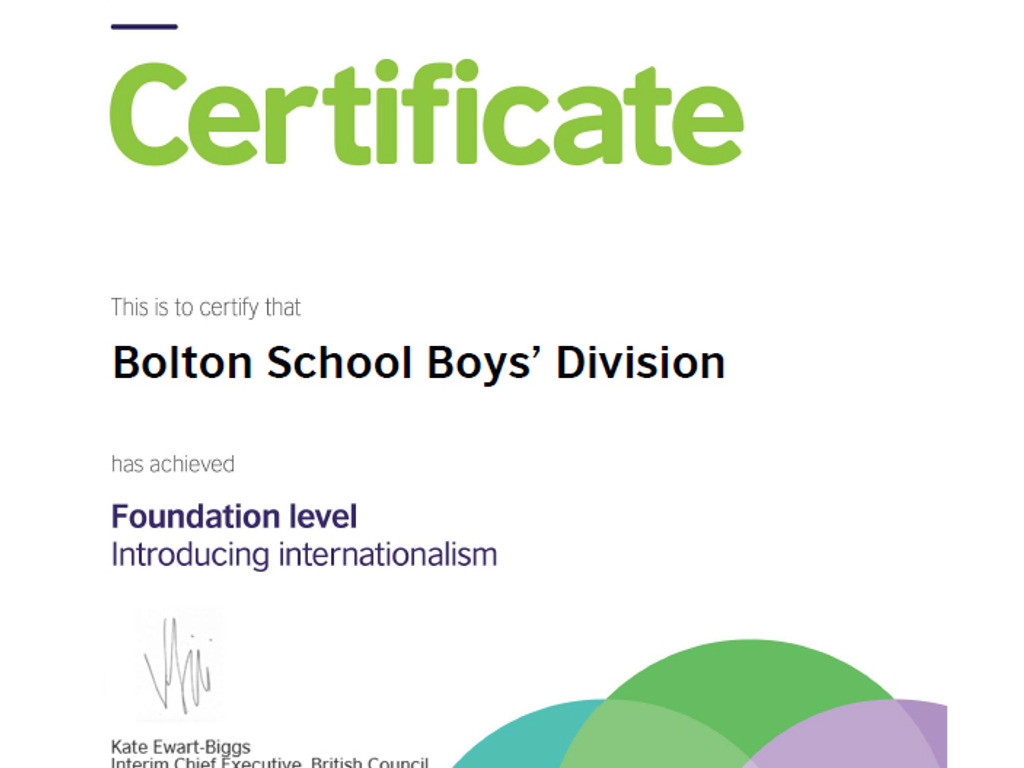 The British Council International School Award Foundation level certificate