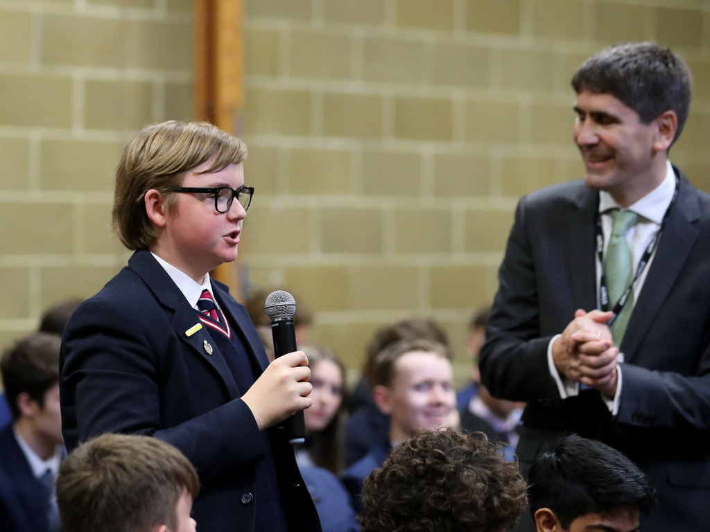Pupil speaks at political hustings with party candidates at Claremont Fan Court School (Nov 2019)