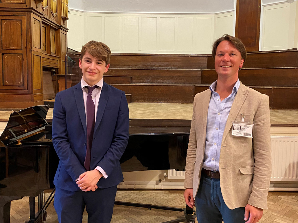 Choral specialist Greg Hallam with Dauntsey's pupil Tom, winner of the School's Gilliat Singing Competition