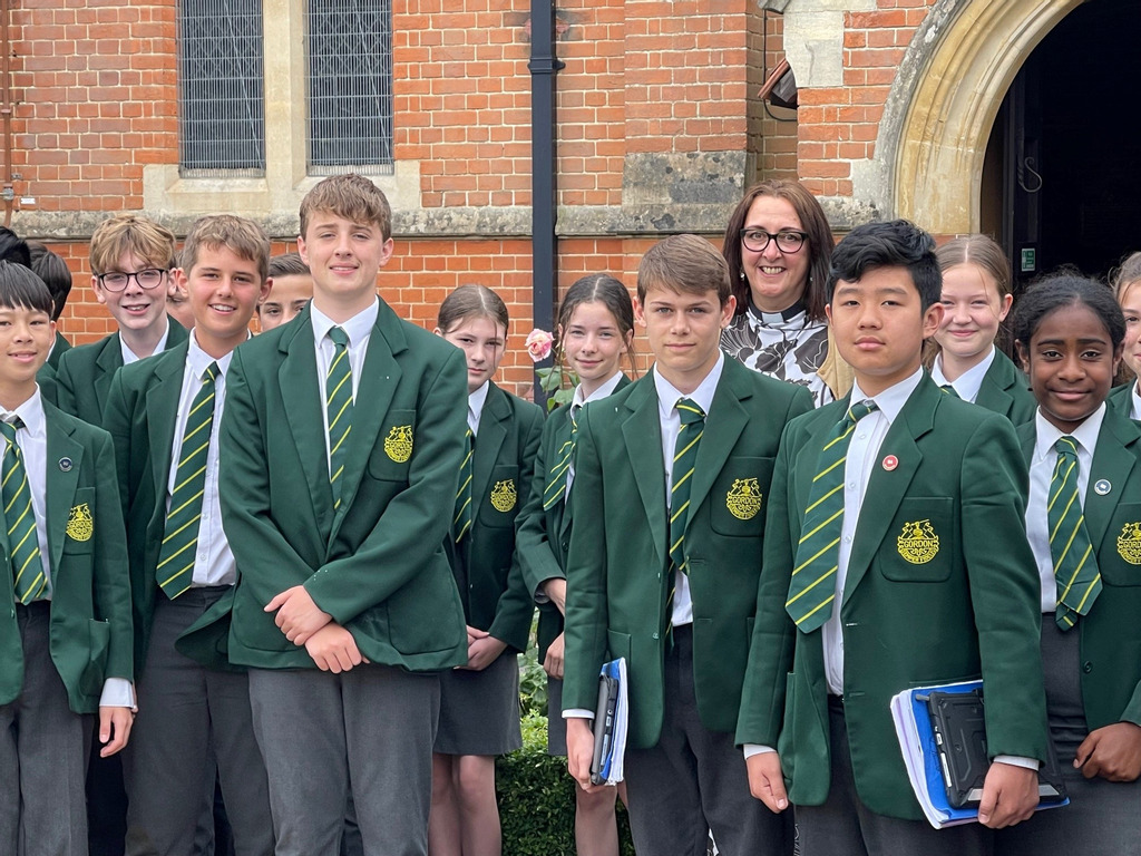 Gordon's students waiting to go into Chapel at the end of term, to hear Rev Sarah for the last time.