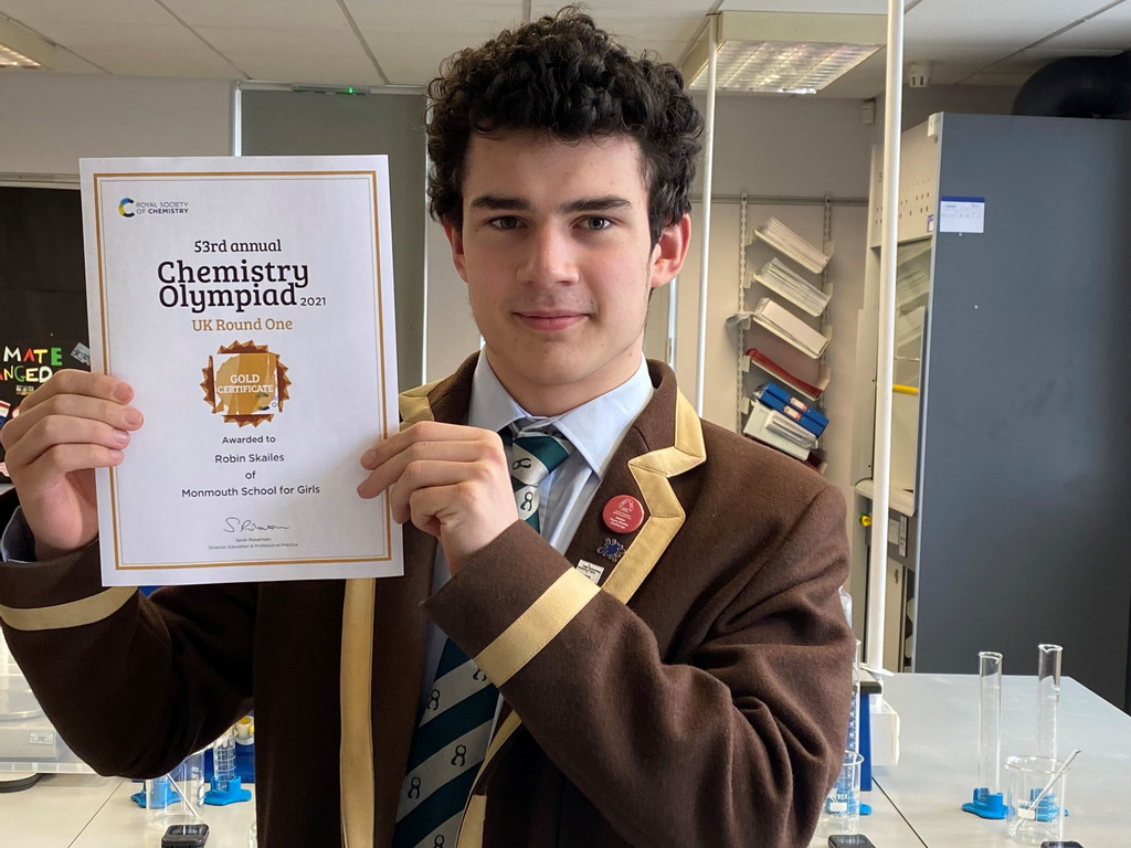 Robin Skailes with his gold award certificate.