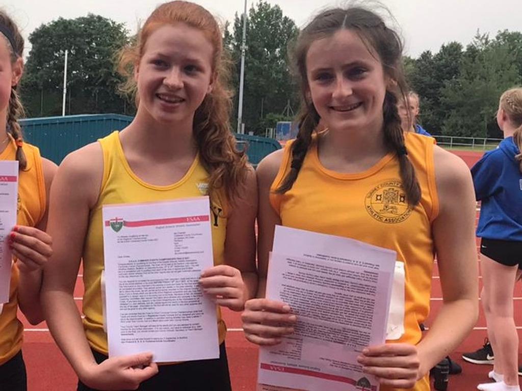 Elin and Sienna To Represent Surrey at English Schools Athletics Championships