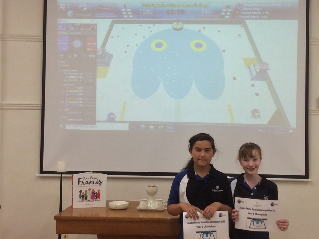 Girls program online 'virtual robot' as part of an earthquake rescue simulation